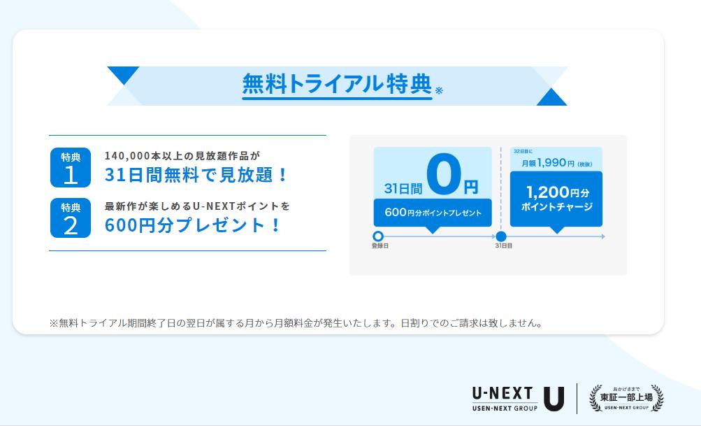 U-NEXTのメリット③:31日間の無料体験なのにポイントがもらえる